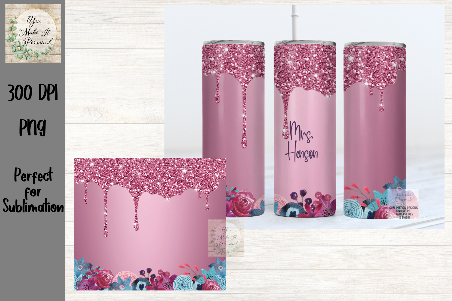 Glitter Drip with Flowers, Tumbler PNG SVG File