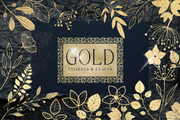 Gold Foil Textured Leaves Flowers PNG Graphic