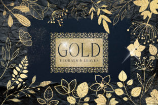 Gold Foil Textured Leaves Flowers PNG Graphic Illustrations By Busy May Studio