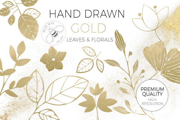 Gold Foil Textured Leaves Flowers PNG Graphic Download