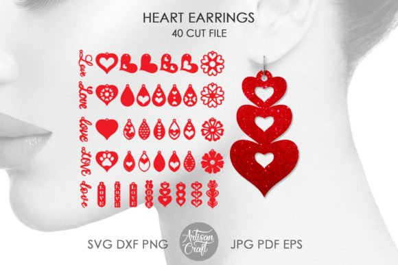 Print on Demand: Heart Earrings, Valentines Earrings Graphic 3D SVG By Artisan Craft SVG