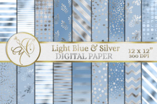 Light Blue and Silver Digital Paper Graphic Backgrounds By paperart.bymc