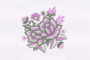 Pink & White Flowers Design Single Flowers & Plants Embroidery Design By DigitEMB