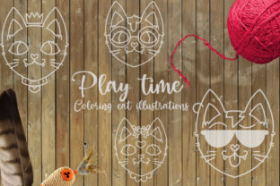 Play Time Coloring Cat Illustrations Graphic Crafts By Firefly Designs