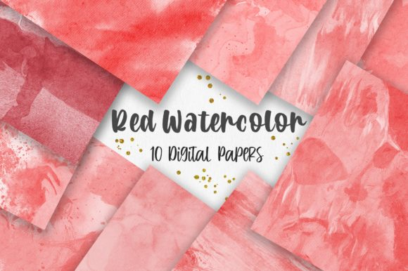 Red Watercolor Texture Digital Papers Graphic Backgrounds By PinkPearly