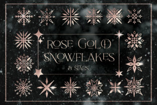 Rose Gold Snowflakes Stars Christmas PNG Graphic Illustrations By Busy May Studio