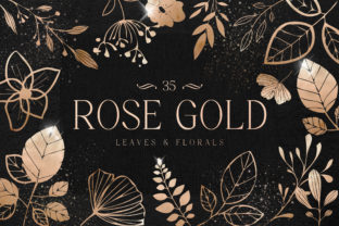 Print on Demand: Rose Gold Leaves Florals Foil Elements Graphic Illustrations By Busy May Studio
