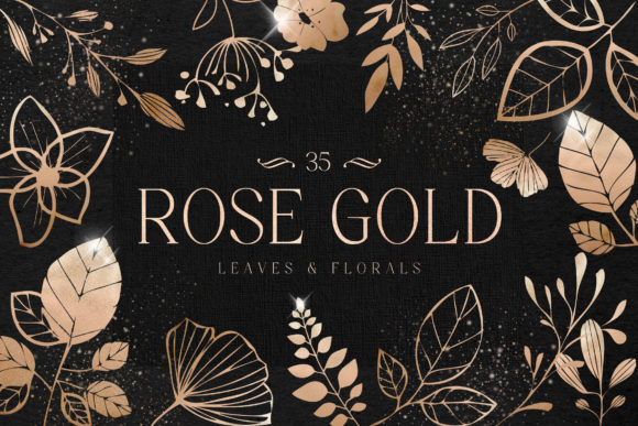 Rose Gold Leaves Florals Foil Elements Gráfico Ilustraciones Por Busy May Studio