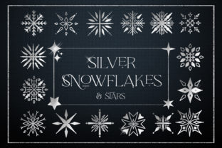 Print on Demand: Silver Snowflakes Stars Digital Foil Graphic Illustrations By Busy May Studio