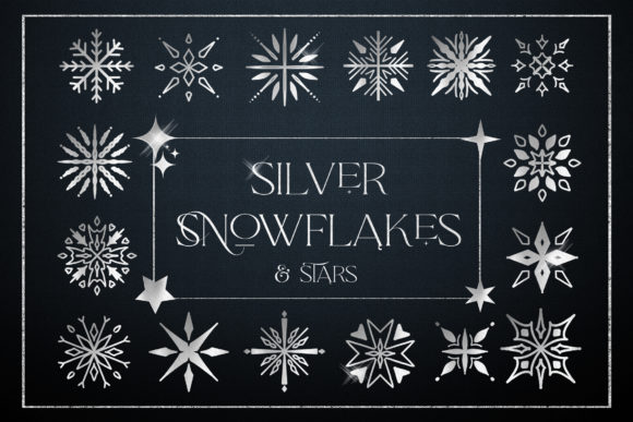 Silver Snowflakes Stars Digital Foil Graphic Illustrations By Busy May Studio