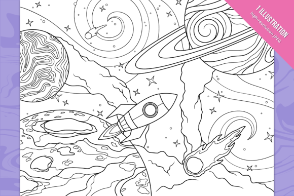 Space Coloring Page Graphic Coloring Pages & Books By Cmeree