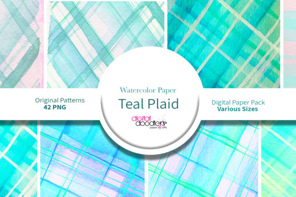 Print on Demand: Teal Watercolor Plaid Paper Graphic Backgrounds By Digital Doodlers