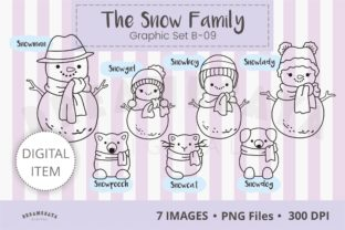 The Snow Family Clipart B-09 Graphic Illustrations By Dreamesaya