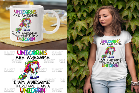 Unicorns Are Awesome / PNG File/ Digital Graphic Illustrations By Fundesings
