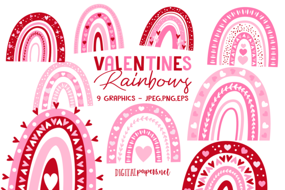 Print on Demand: Valentines Day Rainbows Graphic Illustrations By DigitalPapers