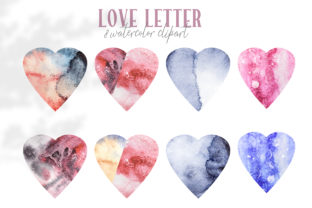 Print on Demand: Valentines Hearts Watercolor Clipart Graphic Illustrations By Tiana Geo