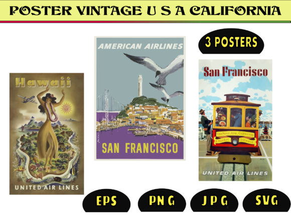 Print on Demand: Vintage Travel Poster for California Graphic Graphic Templates By kdp Edition