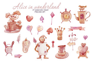 Print on Demand: Watercolor Alice in Wonderland Clipart Graphic Illustrations By Tiana Geo