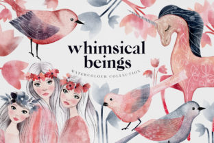 Whimsical Beings Spring Watercolour PNG Graphic Illustrations By Busy May Studio