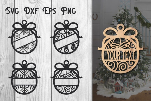 Print on Demand: Christmas Ornament Monogram Cut File Graphic Crafts By dadan_pm