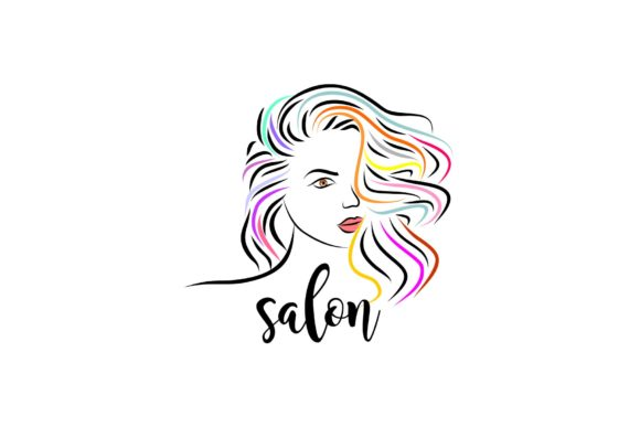 Print on Demand: Colorful Female Long Hair Extension Logo Graphic Logos By artpray