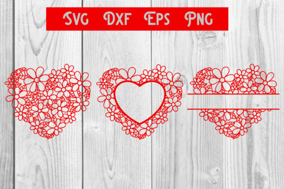 Print on Demand: Heart Flower Handrawn Monogram Svg Dxf Graphic Crafts By dadan_pm