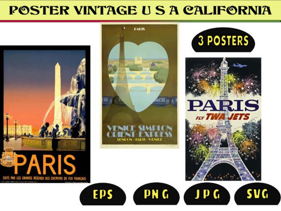 Print on Demand: Vintage Poster Paris FRANCE Graphic Graphic Templates By kdp Edition