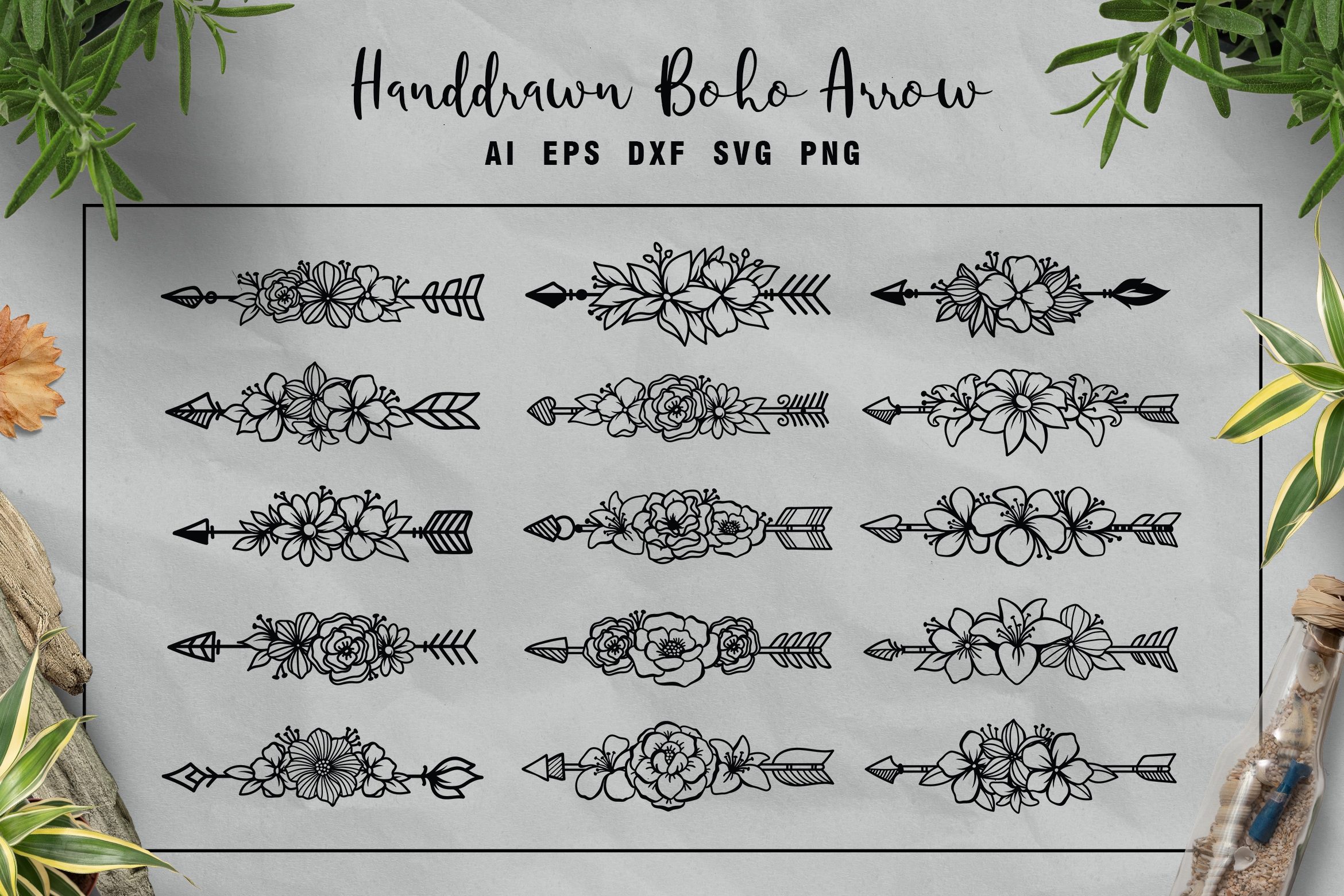 15 Set of Ethnic Arrows and Flower SVG File
