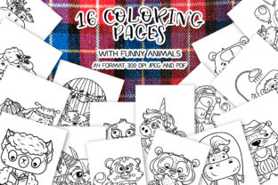 16 Coloring Pages with Funny Animals Graphic Print Templates By Анна Конева
