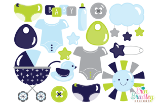 Print on Demand: Baby Boy Clipart Graphic Illustrations By Erin Bradley Designs