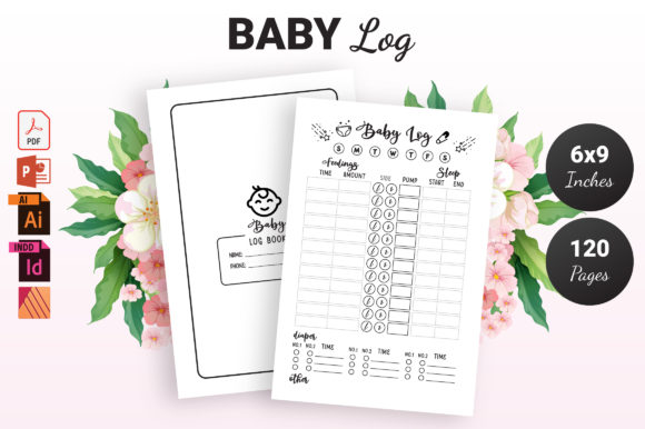 Print on Demand: Baby Log Book - KDP Interior Grafik KPD Innenseiten von KDP Ninja