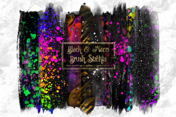 Print on Demand: Black and Neon Brush Strokes Clipart Grafik Illustrationen von Digital Curio