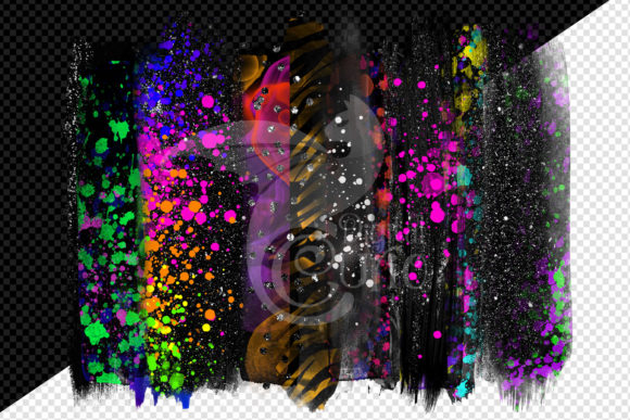 Black and Neon Brush Strokes Clipart Graphic Download