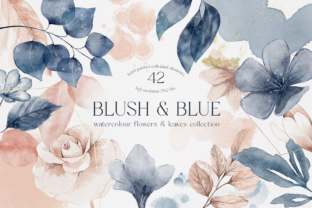 Blush and Blue Leaves Florals Watercolor Grafik Illustrationen von Busy May Studio