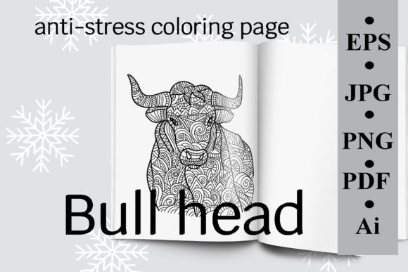 Bull Head, Antistress Coloring Page Graphic Coloring Pages & Books Adults By SunnyColoring