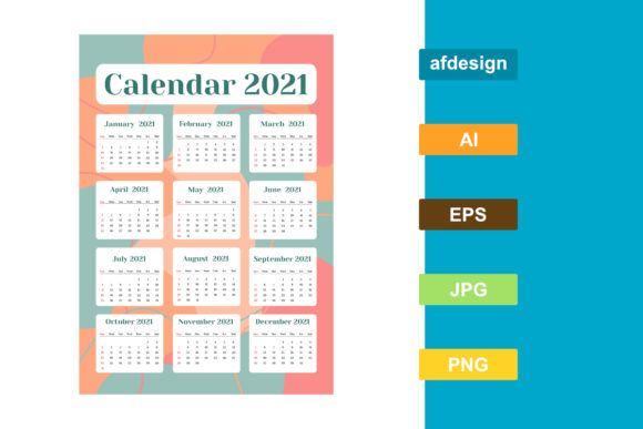 Calendar 2021 Year Abstract Theme Graphic Print Templates By semu creative