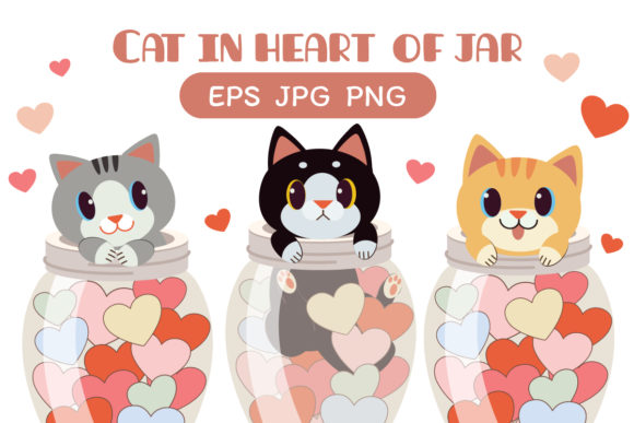 Cats in a Heart of Jar Clipart Graphic Illustrations By Guppic the duck