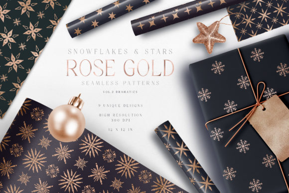 Christmas Digital Paper Rose Gold Dark Graphic Patterns By Busy May Studio