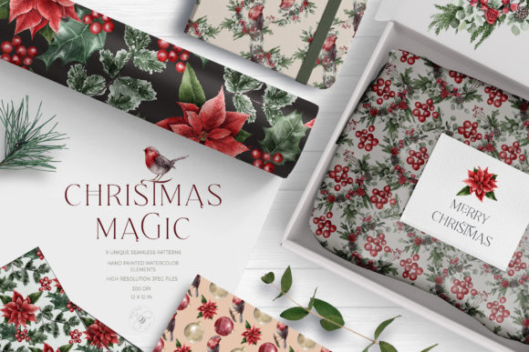 Print on Demand: Christmas Magic Digital Paper Pack Graphic Patterns By Busy May Studio