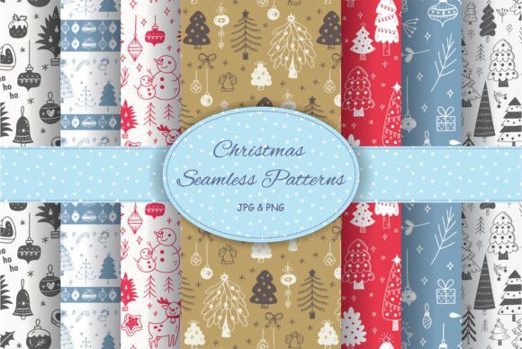 Christmas Seamless Patterns Graphic Illustrations By Big Barn Doodles