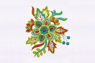 Colorful Floral Single Flowers & Plants Embroidery Design By DigitEMB