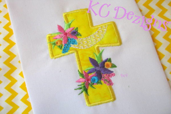 Cross with Flowers Applique Design Religion & Faith Embroidery Design By karen50