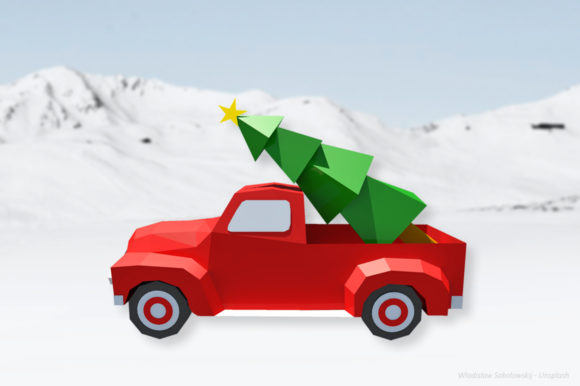 DIY Christmas Truck - 3d Papercraft Graphic 3D Christmas By paperamaze
