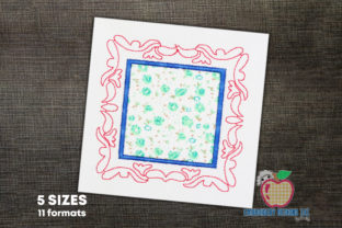 Decorative Square Applique Frame Backgrounds Embroidery Design By embroiderydesigns101