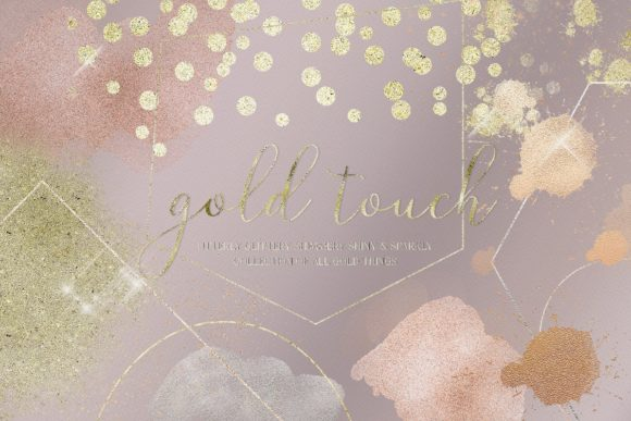Gold Rose Gold Dust Confetti PNG Frames Grafik Illustrationen von Busy May Studio