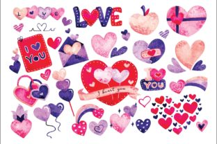 Heart Doodles Water Color Graphic Illustrations By Big Barn Doodles