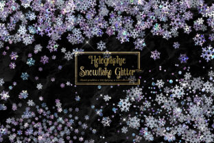 Print on Demand: Holographic Snowflake Glitter Clipart Graphic Illustrations By Digital Curio