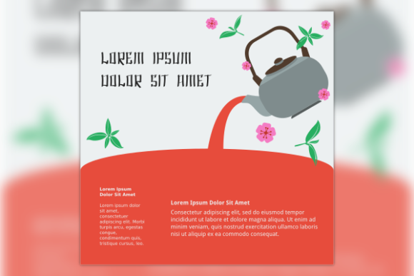 Japanese Tea with Sakura Text Background Graphic Backgrounds By faqeeh