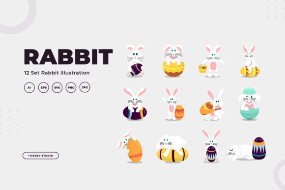 Rabbit Illustration Collection Graphic Illustrations By OKEVECTOR