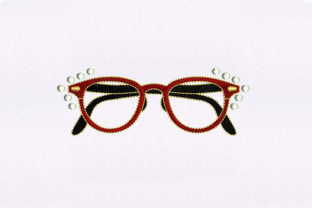 Red & Black Eyeglasses Beauty Embroidery Design By DigitEMB